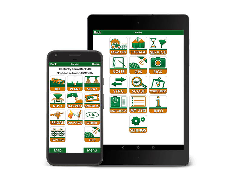 FarmLogic - Farm Management Software displayed on a Tablet and Smartphone
